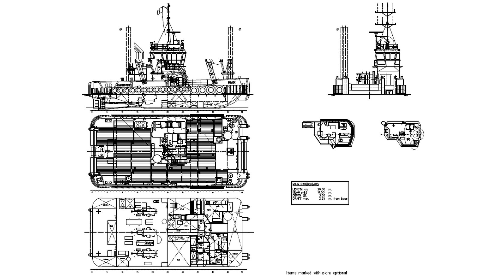 General Arrangement of Damen Multi Cat 2611