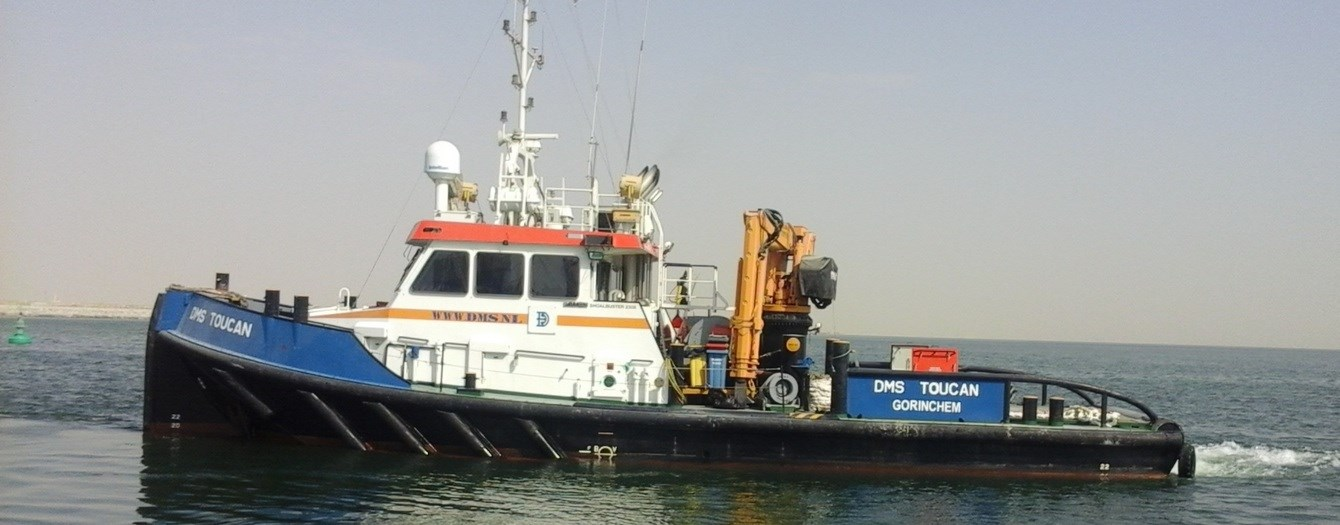 Damen Shoalbuster workboat for towing and pushing operations, dredging support and harbour maintenance is available for charter.